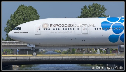20200509 142841 6111679 Emirates B777-300 A6-ECC Blue-Expo2020-colours-nose AMS Q2