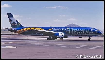 19970717 AmericaWestAirlines B757-200 N915AW Nevada-BattleBorn-colours PHX 13061997